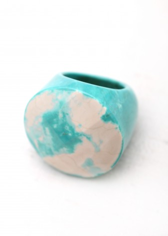 Blue and White Fashion Statement Ring