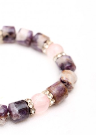 Amethyst and Rose Quartz Beaded Bracelet