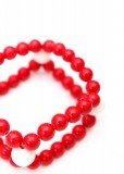 Beaded Red and White Agate Bracelet