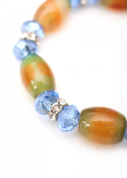 Blue Crystal and Green Agate Beaded Bracelet