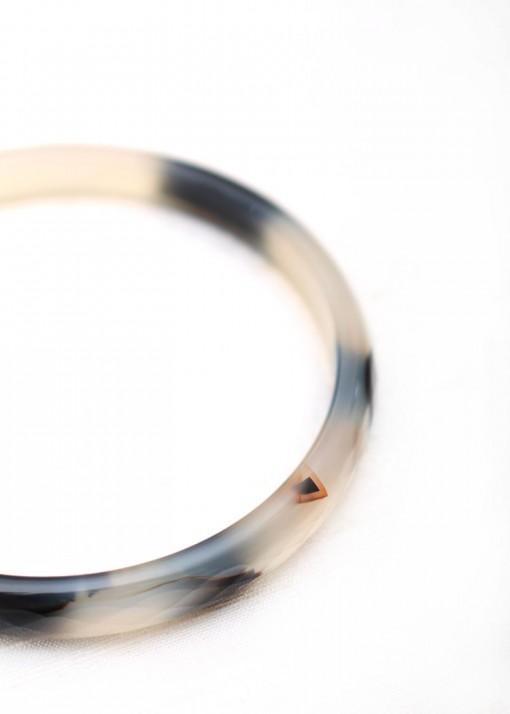 Black and White Agate Delicate Bangle Bracelet