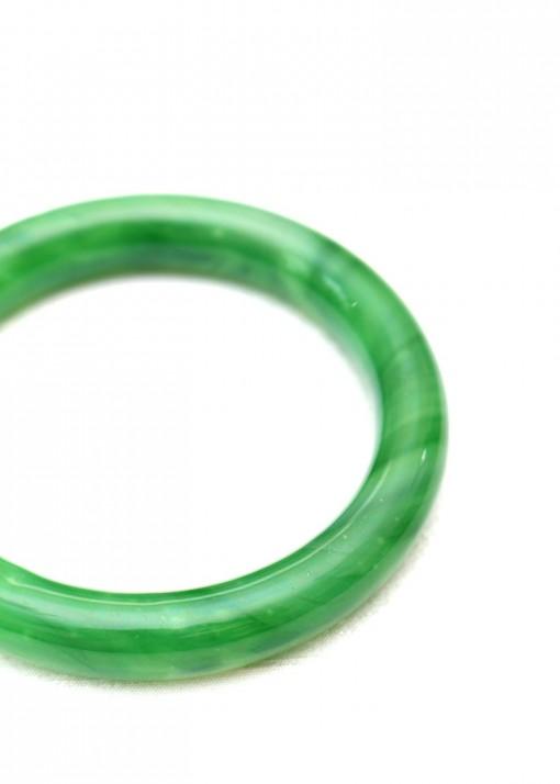 Emerald Green Striated Jade Bangle Bracelet