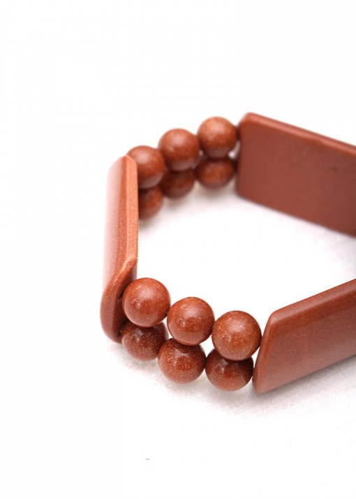 Beaded Goldstone Chunky Bracelet