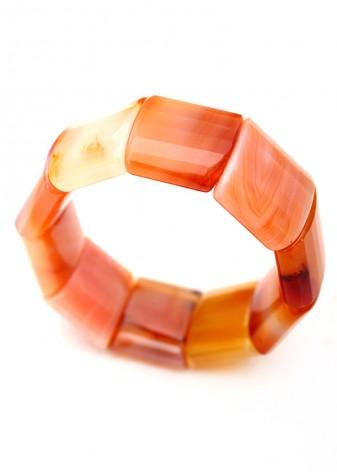 Chunky Saffron Agate Bracelet