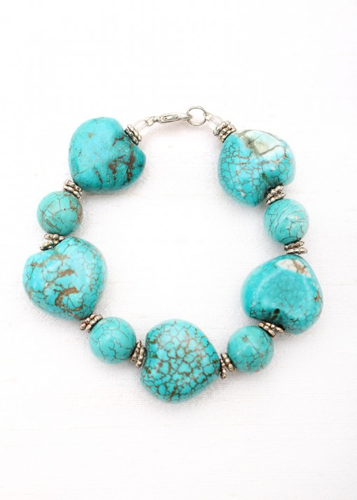 Turquoise and Silver Chunky Bracelet