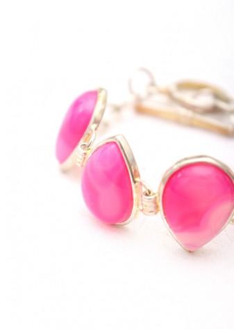 Pink Teardrop Cabochon Charm Bracelet