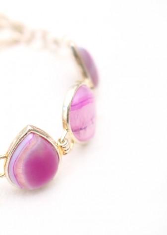 Purple Cabochon Teardrop Charm Bracelet