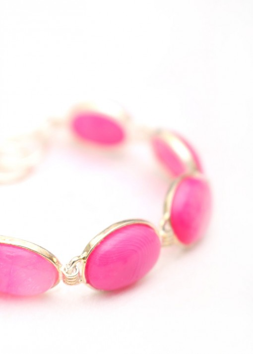 Pink Cabochon Charm Bracelet