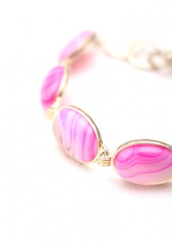 Hot Pink Cabochon Charm Bracelet