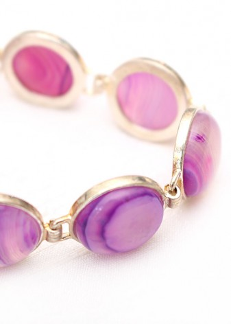 Cabochon Purple Charm Bracelet