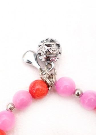 Pink Jade and Orange Agate Charm Bracelet