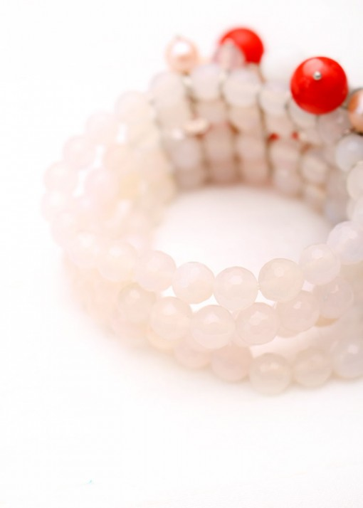 Orange and White Agate Statement Charm Bracelet