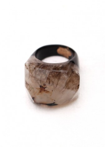 Druzy Detail Chunky Agate Ring