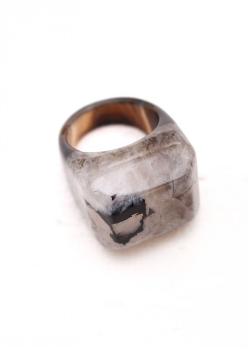 Monochome Druzy Agate Ring
