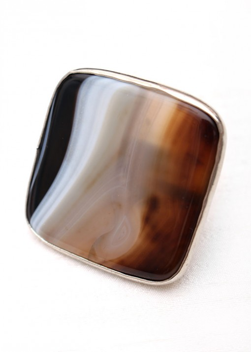 Statement Striped Agate Ring