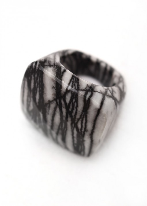 Black Patterned Statement Ring