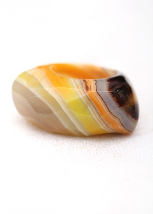 Raw Crystal and Honey Agate Statement Ring