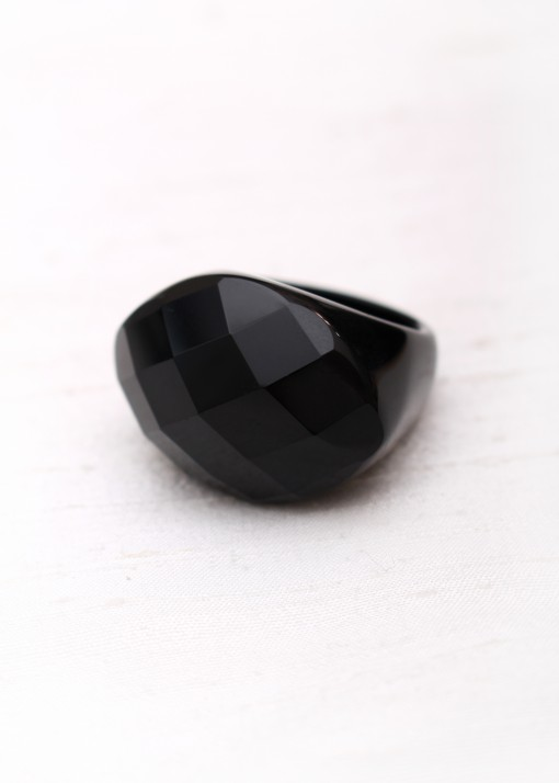 Chunky Black Agate Ring