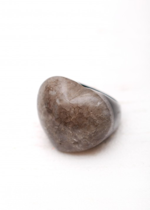 Chunky Jasper Black and White Heart Ring