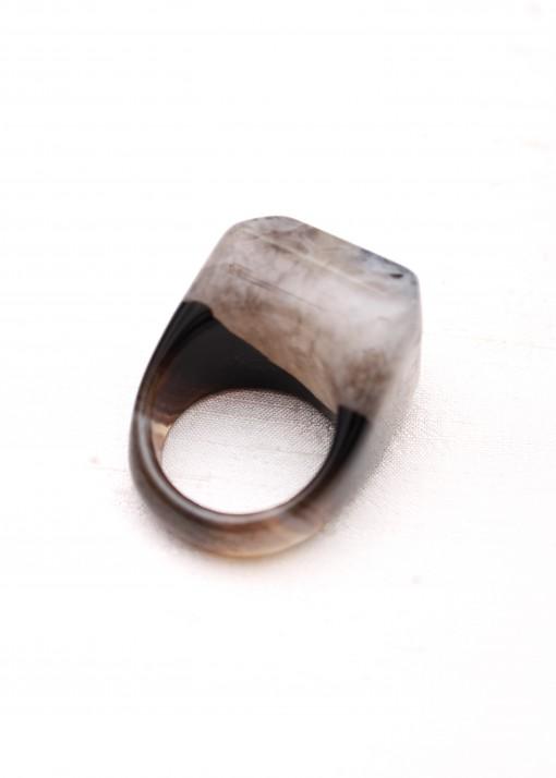 Monochrome Druzy Agate Ring