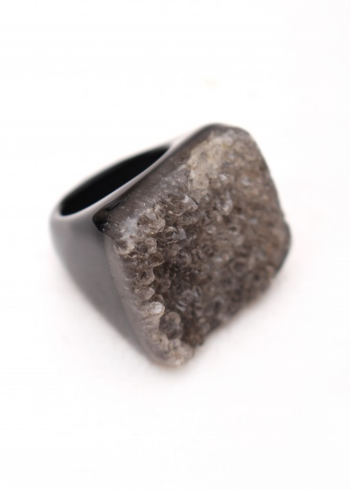 Druzy and Agate Black Ring