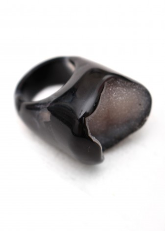 Polished Black Agate and Druzy Ring