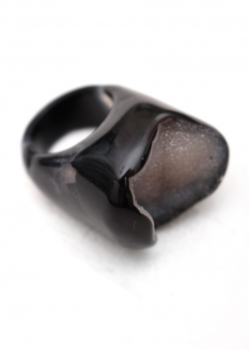 Druzy and Black Agate Polished Ring
