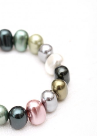 Iridescent Pastel Coloured Pearl Beaded Bracelet
