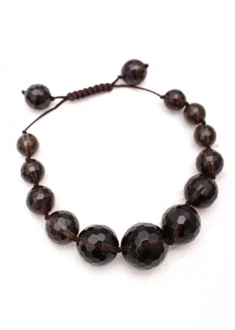 Beaded Smoky Quartz Crystal Bracelet