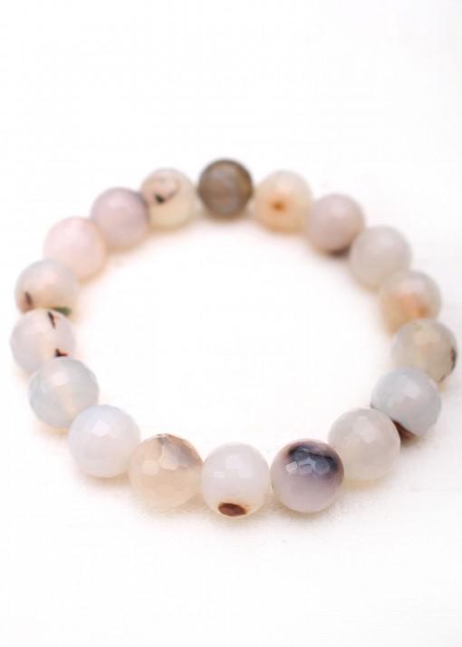 Beaded Cloudy Agate Bracelet