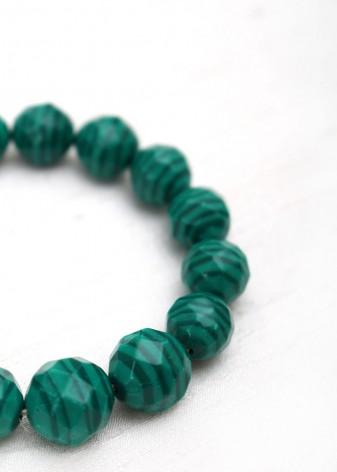 Beaded Forest Green Malachite Bracelet