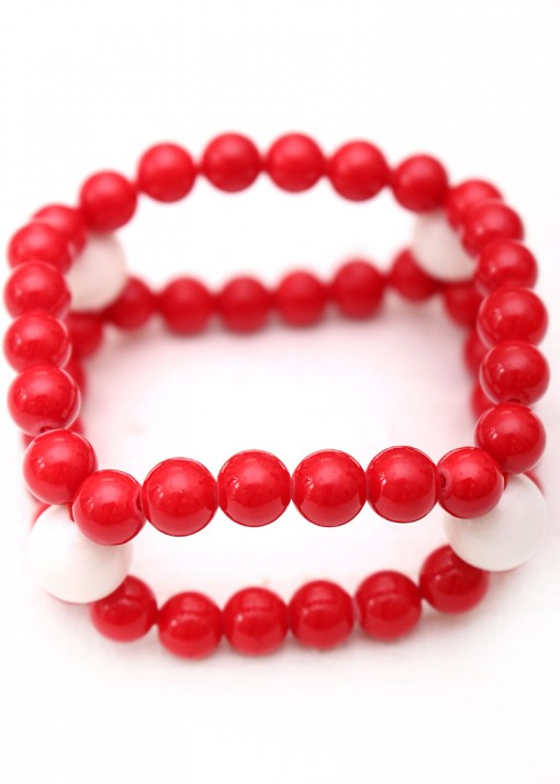 Red and White Agate Beaded Bracelet