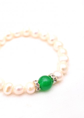 Pearl and Emerald Green Agate Beaded Bracelet