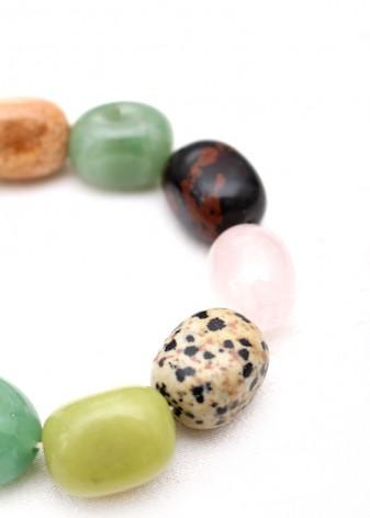 Dalmatian Jasper, Aventurine and Mahogany Beaded Bracelet