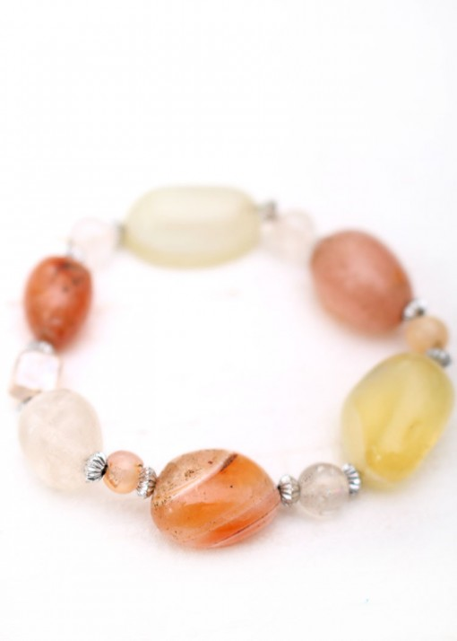Beaded Quartz, Agate and Silver Bracelet