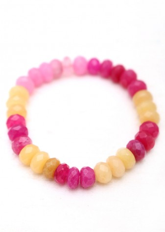 Beaded Rose Quartz and Jade Bracelet