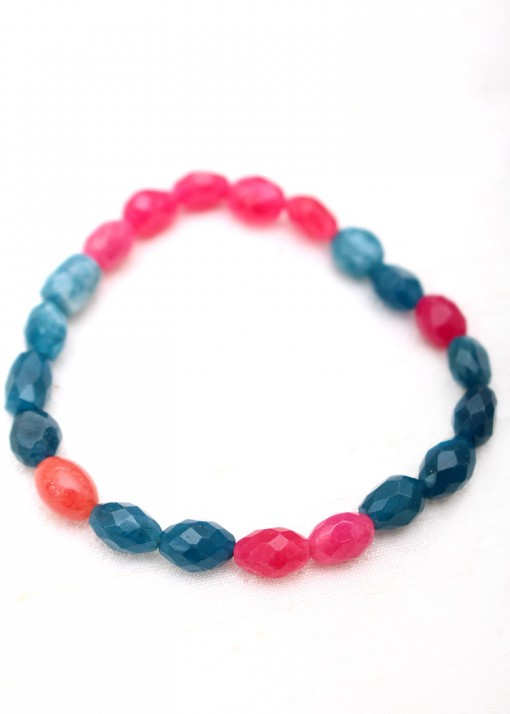 Beaded Pink and Blue Agate Bracelet