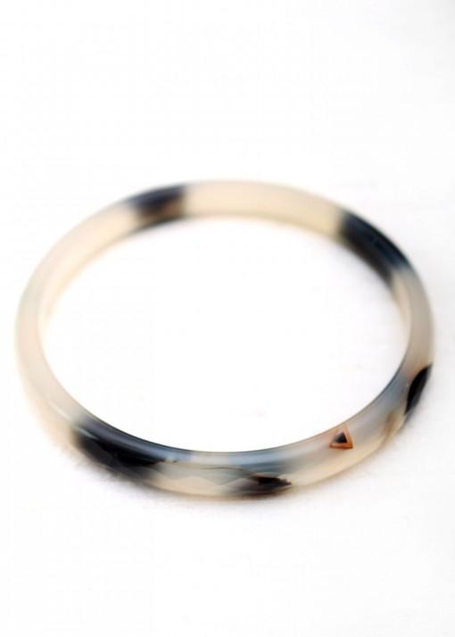 Delicate Black and White Bangle Bracelet