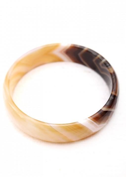 Striated Crazy Agate Chunky Bangle Bracelet