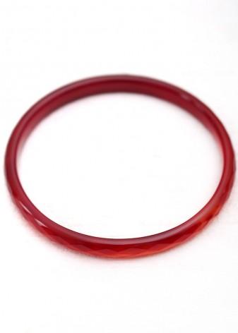 Ruby Red Agate Bangle Bracelet