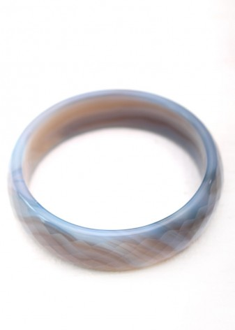 Steel Blue Agate Bangle Bracelet