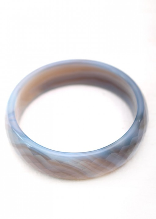 Agate Steel Blue Bangle Bracelet