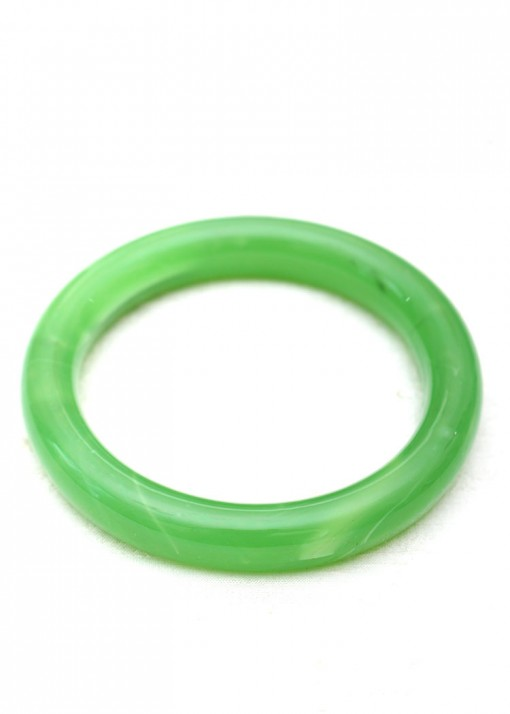 Rounded Apple Green Agate Striated Bangle
