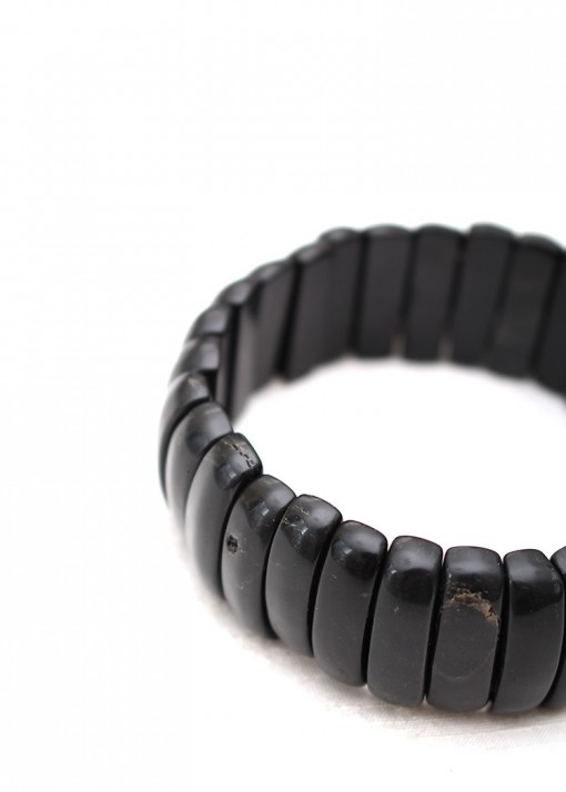 Black Agate Stretch Chunky Bracelet