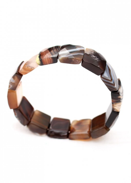 Chunky Brown Agate Stretch Bracelet