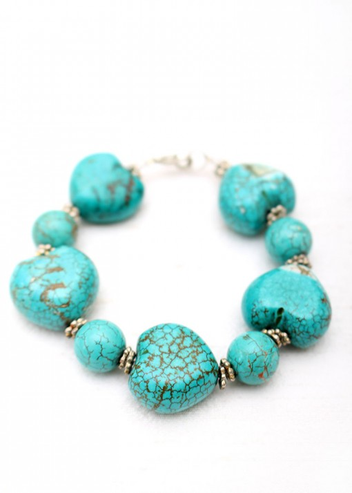Chunky Silver and Turquoise Bracelets