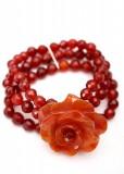 Chunky Carnelian and Agate Flower Bracelet