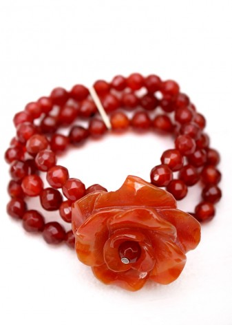 Chunky Carnelian and Agate Flower Bracelet