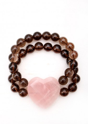 Rose and Smoky Quartz Chunky Bracelet