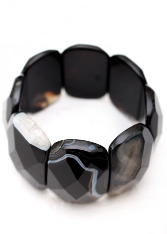 Black Faceted Chunky Bracelet